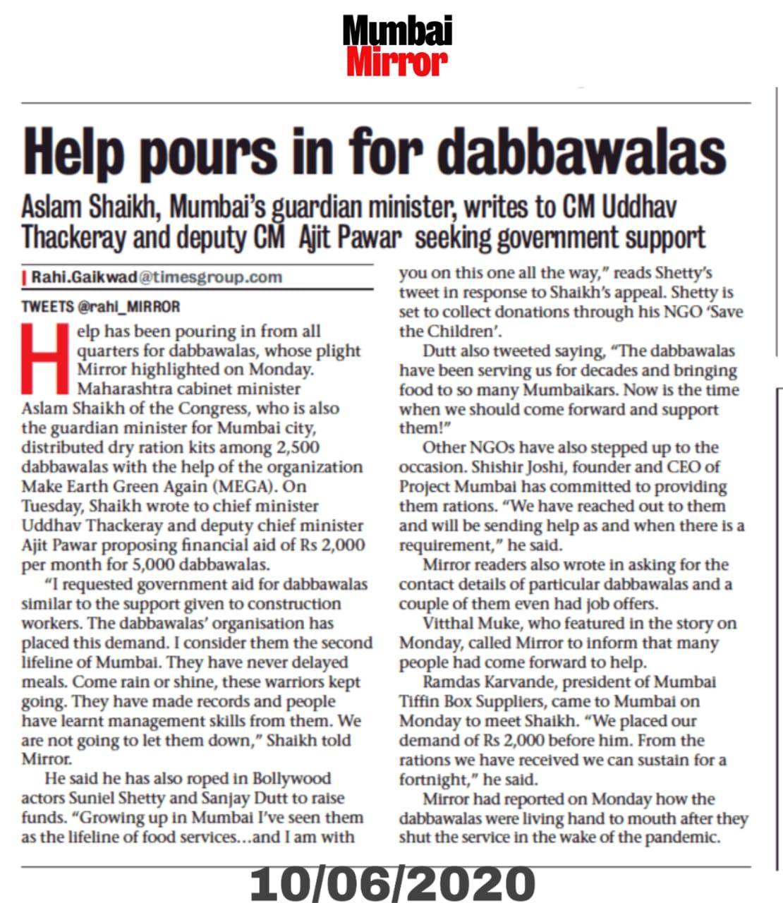 Help pours in for Mumbai's dabbawalas; Minister Aslam Shaikh writes to CM Thackeray, Ajit Pawar